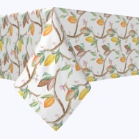 """Square Tablecloth, 100% Polyester, 84x84"""", Tropical Cocoa Fruits & Leaves"""