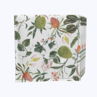 """Napkin Set, 100% Polyester, Set of 12, 18x18"""", Tropical Flowers & Leaves"""