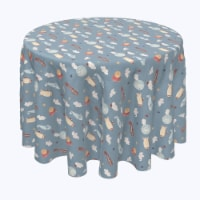 """Round Tablecloth, 100% Polyester, 60"""" Round, Up in the Air With Elephants - 1 Product"""