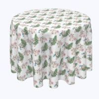 """Round Tablecloth, 100% Polyester, 120"""" Round, Watercolor Peacocks & Flowers - 1 Product"""