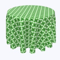 """Round Tablecloth, 100% Polyester, 108"""" Round, Celtic Shield of Clovers"""