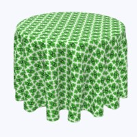 """Round Tablecloth, 100% Polyester, 114"""" Round, Celtic Shield of Clovers"""