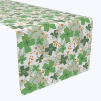 "Table Runner, 100% Polyester, 12x72"", Clover Cross and Orange Spots"