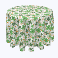 """Round Tablecloth, 100% Polyester, 102"""" Round, Clover Cross and Orange Spots - 1 Product"""