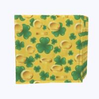 """Napkin Set, 100% Polyester, Set of 12, 18x18"""", Falling Gold and Shamrock Joy"""