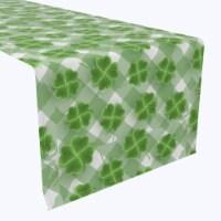"Table Runner, 100% Polyester, 12x72"", Grassy Green 3D Shamrock - 1 Product"