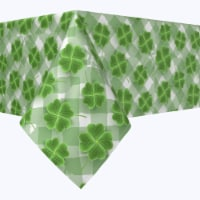 """Square Tablecloth, 100% Polyester, 70x70"""", Grassy Green 3D Shamrock - 1 Product"""