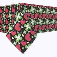 """Square Tablecloth, 100% Polyester, 90x90"""", Heart Meets Clover"""