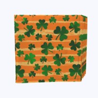 "Napkin Set, 100% Polyester, Set of 12, 18x18"", Orange Paint Stroke Celtic Pride - 12 Units, 1 Product"