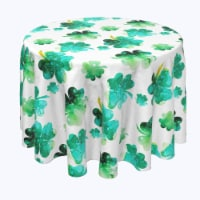 "Round Tablecloth, 100% Polyester, 108"" Round, Rain Drop Clovers"