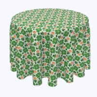 """Round Tablecloth, 100% Polyester, 102"""" Round, Red Beard Leprechaun and Pipe"""