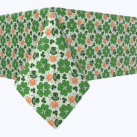 """Square Tablecloth, 100% Polyester, 54x54"""", Red Beard Leprechaun and Pipe"""