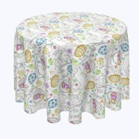 """Round Tablecloth, 100% Polyester, 60"""" Round, Chicken Hatch Fun - 1 Product"""