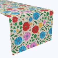 """Table Runner, 100% Polyester, 14x108"""", Dots on Floral Landscape - 1 Product"""