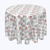 """Round Tablecloth, 100% Polyester, 102"""" Round, Easter Tic Tac Toe - 1 Product"""