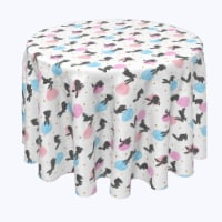 """Round Tablecloth, 100% Polyester, 102"""" Round, Energizer Bunnies and Eggs - 1 Product"""