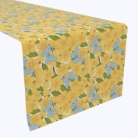 """Table Runner, 100% Polyester, 12x72"""", Flowering Trees and Blue Butterflies - 1 Product"""