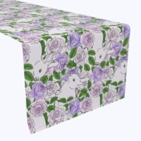 """Table Runner, 100% Polyester, 12x72"""", Grandma Bunny Floral - 1 Product"""