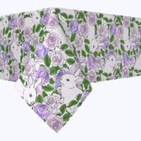 "Rectangular Tablecloth, 100% Polyester, 60x84"", Grandma Bunny Floral - 1 Product"