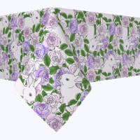 """Square Tablecloth, 100% Polyester, 84x84"""", Grandma Bunny Floral - 1 Product"""