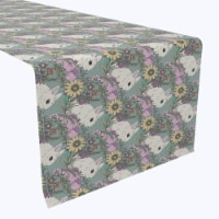 """Table Runner, 100% Polyester, 14x108"""", Hand Drawn Flowers and Rabbits - 1 Product"""
