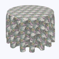 """Round Tablecloth, 100% Polyester, 70"""" Round, Hand Drawn Flowers and Rabbits"""
