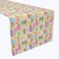 "Table Runner, 100% Polyester, 12x72"", Happy Easter Retro Cake"