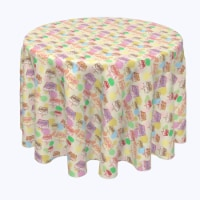 """Round Tablecloth, 100% Polyester, 108"""" Round, Happy Easter Retro Cake"""