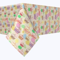 """Square Tablecloth, 100% Polyester, 90x90"""", Happy Easter Retro Cake"""