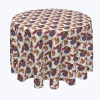 """Round Tablecloth, 100% Polyester, 108"""" Round, Rooster and Chicken Friends"""
