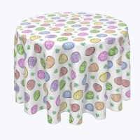 """Round Tablecloth, 100% Polyester, 84"""" Round, Simple Eggs and Watercolor Blots"""
