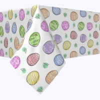 """Square Tablecloth, 100% Polyester, 84x84"""", Simple Eggs and Watercolor Blots"""