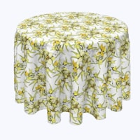 """Round Tablecloth, 100% Polyester, 84"""" Round, Summer Daffodil Dil - 1 Product"""