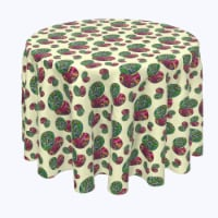"""Round Tablecloth, 100% Polyester, 60"""" Round, Trippy Doodle Easter Eggs - 1 Product"""