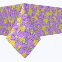 """Rectangular Tablecloth, 100% Polyester, 60x120"""", Violet and Yellow Love Flowers"""