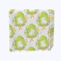 "Napkin Set, 100% Polyester, Set of 12, 18x18"", Wreath of Spring Joy"
