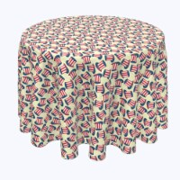 """Round Tablecloth, 100% Polyester, 120"""" Round, 4th Hats of Celebration"""