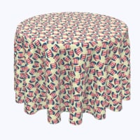 """Round Tablecloth, 100% Polyester, 90"""" Round, 4th Hats of Celebration"""