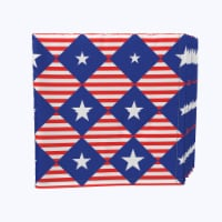 """Napkin Set, 100% Polyester, Set of 12, 18x18"""", Blue Diamonds in Red Stripes - 12 Units, 1 Product"""