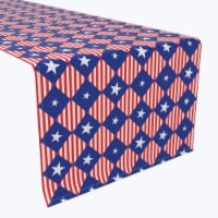 """Table Runner, 100% Polyester, 12x72"""", Blue Diamonds in Red Stripes"""