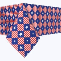 """Square Tablecloth, 100% Polyester, 54x54"""", Blue Diamonds in Red Stripes"""