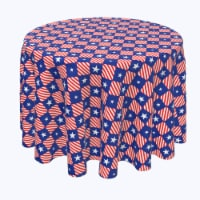 """Round Tablecloth, 100% Polyester, 90"""" Round, Blue Diamonds in Red Stripes"""