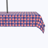 """Water Repellent, Outdoor, 100% Polyester, 60x120"""", Blue Diamonds in Red Stripes"""