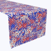 """Table Runner, 100% Polyester, 14x108"""", Painted Firework Fun - 1 Product"""