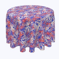 """Round Tablecloth, 100% Polyester, 90"""" Round, Painted Firework Fun - 1 Product"""