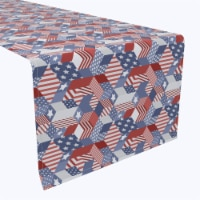 """Table Runner, 100% Polyester, 12x72"""", Patriotic Geometric Patchwork"""