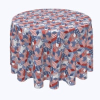 """Round Tablecloth, 100% Polyester, 70"""" Round, Patriotic Geometric Patchwork"""