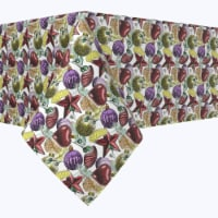 """Square Tablecloth, 100% Polyester, 84x84"""", Beautiful Sketch Christmas Ornaments"""