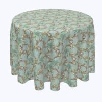 "Round Tablecloth, 100% Polyester, 84"" Round, Botanical Sketch Garland"
