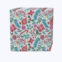 "Napkin Set, 100% Polyester, Set of 12, 18x18"", Christmas Candy Cane Celebration"